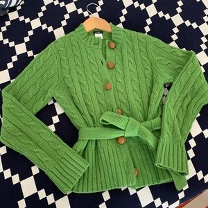 J.Crew size medium green cable-knit sweater